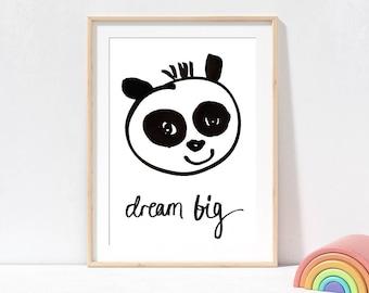 Panda Monochrome Art Print Dream Big, black and white kids prints, positive quote prints, nursery prints, panda picture, animal wall art