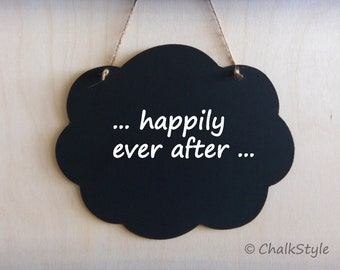 Cloud Chalkboard with Jute Twine -- Rustic  Wedding Decoration, Photo Prop or Home Decor Reusable Chalk Board
