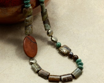 Bronzite and African Jade Necklace with Jasper and Pyrite, Strand Necklace, Green, Brown