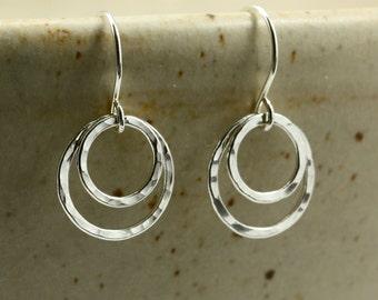 Hammered Silver Double Hoop Earrings, Southwestern Earrings, Fine Silver Earrings, Hammered Silver Earrings, Hammered Earrings