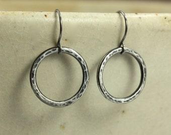 Hammered Silver Hoop Earrings, Aged Silver Earrings, Hammered Silver Earrings, Rustic Earrings, Southwestern Earrings