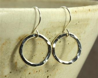 Hammered Silver Hoop Earrings, Medium Earrings, Southwestern Earrings, Hammered Silver Earrings, Hammered Earrings, Sterling Silver Earrings