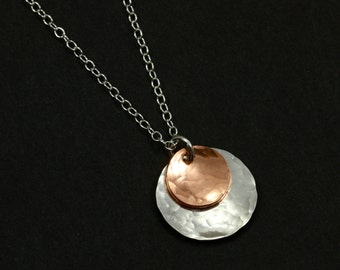 Hammered Silver and Copper Necklace with Sterling Silver Chain, Mixed Metal Necklace, Hammered Silver Necklace, Chain Necklace