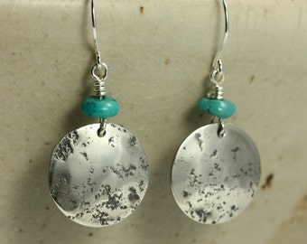Turquoise and Hammered Silver Earrings, Sterling Silver Earrings, Southwestern Earrings, Rustic Earrings, Turquoise Earrings