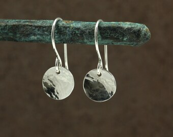 Small Hammered Silver Disc Earrings, Drop Earrings, Sterling Silver Earrings, Hammered Silver Earrings, Southwestern Earrings