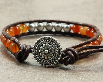 Leather Wrap Bracelet with Red Agate and Silver Glass Beads, Greek Leather Cord, Single Wrap Bracelet, Leather Bracelet, Orange Bracelet