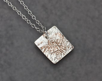 Sterling Silver Chain Necklace with Fused Sterling Silver and Copper, Sterling Silver Necklace, Fused Copper, Reticulated Silver