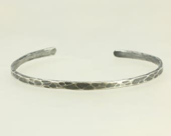 Hammered Aged Sterling Silver Cuff Bracelet, Skinny Cuff, Silver Bracelet, Hammered Silver Cuff, Hammered Bracelet, Hammered Cuff