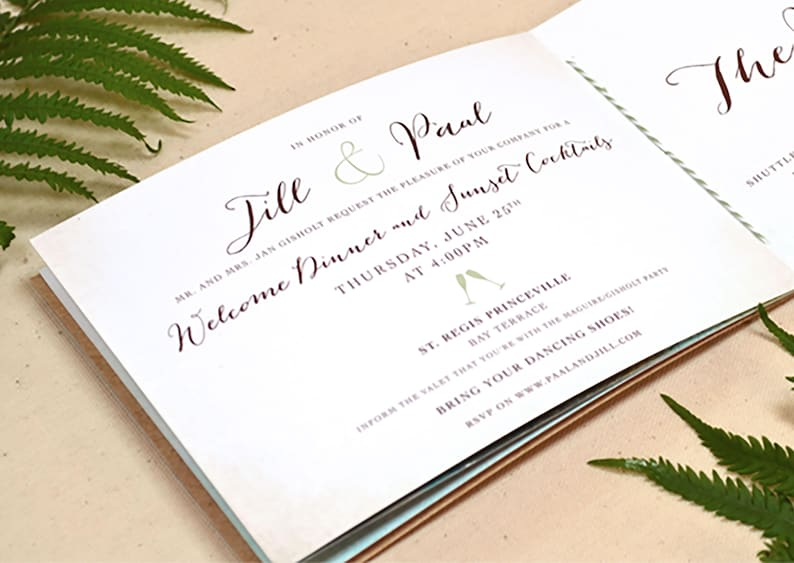 Booklet Wedding Invitation Sample HORIZONTAL Hand stitched Invitation Book
