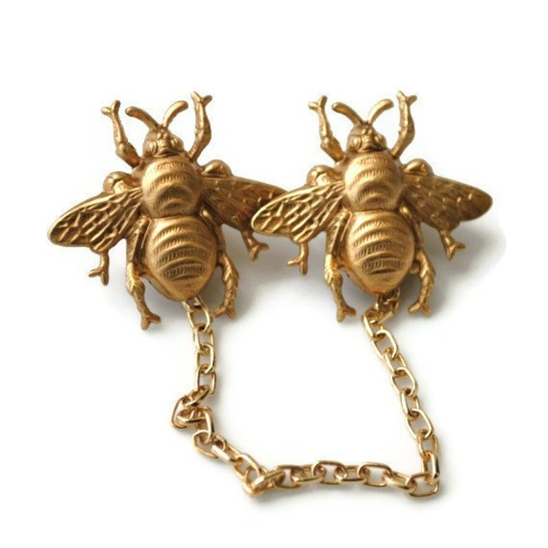 Bridgerton Golden Bee Sweater Guard or Collar Clip Pin Back image 0