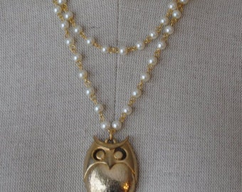 Vintage Gold Tone Owl Triple Strand Light Ivory Glass Beaded Necklace OOAK