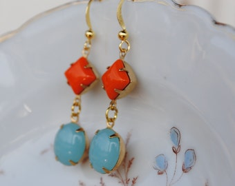 Vintage Tangerine Tango and Light Turquoise Glass Dangle Earrings