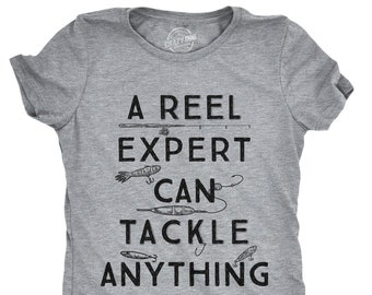 78dd8756f Womens Fishing Expert T Shirt With Sayings, Humor Angling Quotes Shirt,  Punny Gag Meme Fisherwoman Grey Fitted Tee, Joke Fishing Gifts