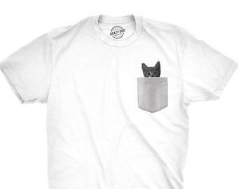 7c013304 Cat Pocket Shirt, Kitten Shirt, Funny Cat Shirt, Cat Shirt Men, Kitty  Lovers Gift, Funny Cat Gifts, T Shirt Cat, Cat Gifts For Cat Lovers