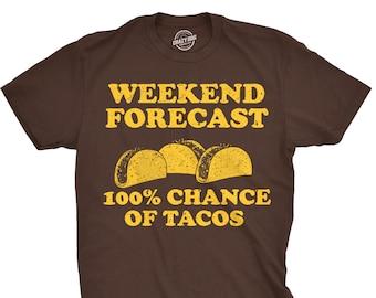 0749cedb99 Food Shirt Men, Funny Taco Shirt, Taco Tuesday, Mexican Party Shirt, Funny  Mens Taco Shirt, Weekend Forecast 100 percent chance of tacos