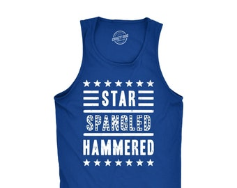 Independence Day Tank Top, Star Spangled Hammered Patriotic Tank, 4th Of July Shirt, USA Shirt, America Shirt, Murica Shirt, Beer Shirt