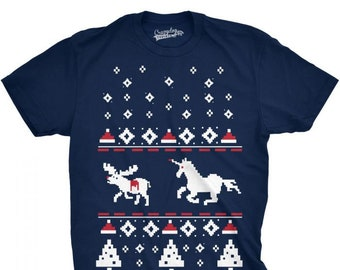 b32538afdfd1e Unicorn Christmas Shirt, Tacky Xmas Shirt Men, Unicorn Reindeer Shirt,  Offensive Christmas Top, Unicorn Stab Tee, Tasteless Shirts