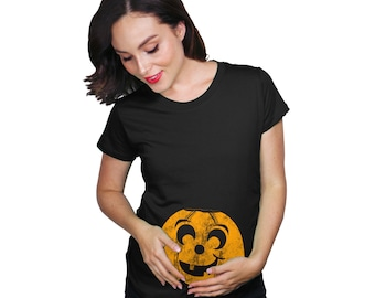 9918cac0f13d8 Halloween Shirts Maternity, Pumpkin Face Eyebrow Maternity Shirt, Halloween  Pregnant Gift, Halloween Costume Pregnant, Pumpkin Pregnancy
