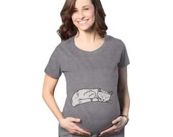 825a23eaeaddb Cat On Bump Maternity Shirt, Cat Pregnancy Tee Shirt, Funny Pregnant Shirt,  Cute Maternity Shirt, Baby Announcement Shirt, Sleep Cat Shirt