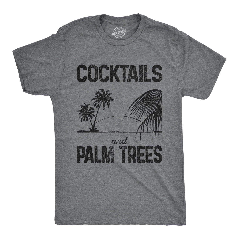 3e40c304b Cocktails And Palm Trees Shirt Mens Beach T Shirt Palm Tree | Etsy