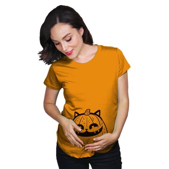 4d19ad5b9cddf Cat Pumpkin Halloween Maternity T Shirt, New Mom Halloween Gift, New Baby  Halloween Pregnancy Reveal Shirt, Pumpkin Face Shirt Pregnant