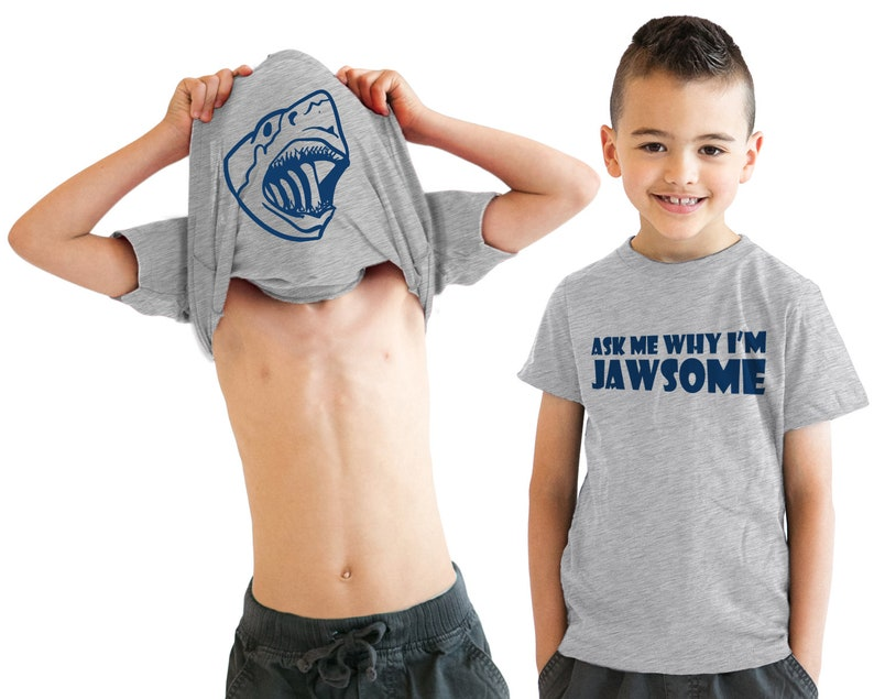 13970c398 Kids Jawsome Shirt Funny Childrens Shark Shirt Youth Shark | Etsy