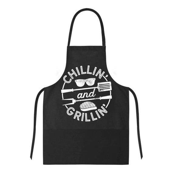 funny barbecue apron chillin and grillin meat bbq apron etsy. Black Bedroom Furniture Sets. Home Design Ideas
