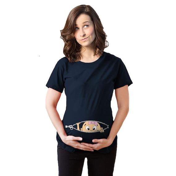8fa2a2a8e0d37 Baby Bump Shirt, Pregnancy Shirt Women, Baby Girl Peeking Shirt, Funny  Pregnancy Shirt, Baby Announcement Shirt, Cute Maternity Shirt