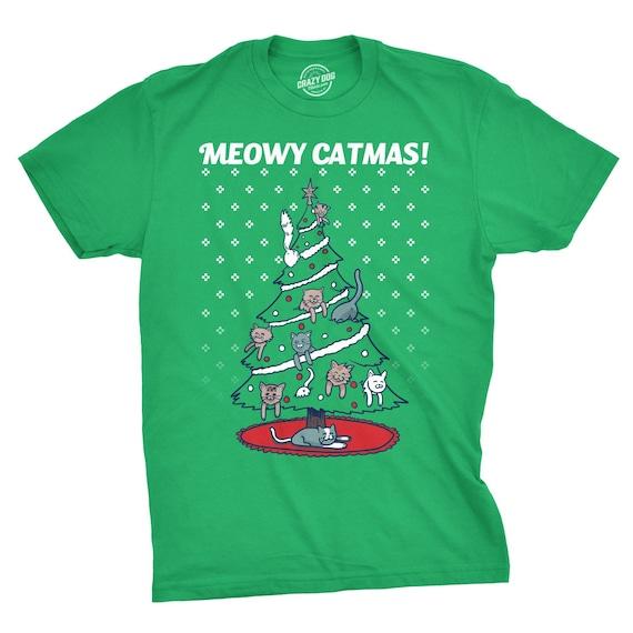 592f8027 Cat Christmas T Shirt, Funny Kittens Xmas Shirt, Meowy Catmas Shirt, Tacky Cat  Shirt Christmas, Christmas Tree Shirt, Ugly Shirt Xmas