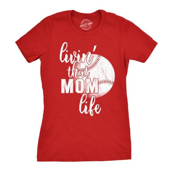 197cbe1f Baseball Mom Shirt With Sayings, Mom Gameday Shirt Funny, Cool Womens Shirt,  Livin that Mom Life Sunday Sports Tee, Softball Shirt