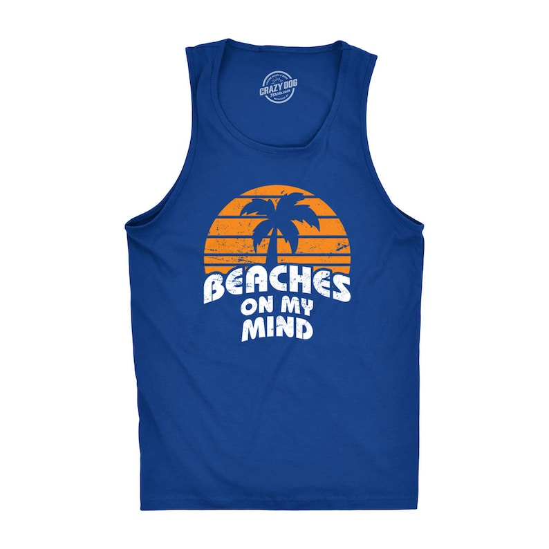 e457c26a4 Mens Beach Tank Top Mens Funny T shirt Beach Vacation | Etsy