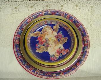 Cherub Trays Trio Florals Vintage Serving Platters Tray