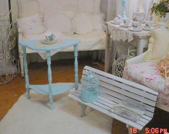 Painted Turquoise Table Vintage Demilune Shabby Chic Paris Apt Cottage