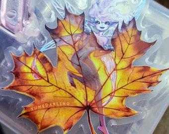 """Fall Autumn Fairy Clear Sticker 3"""""""