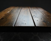 Authentic Custom Made Reclaimed Wood Restaurant Dining Table with Rebar Hairpin Legs: 2.75 inch thick Wood Top