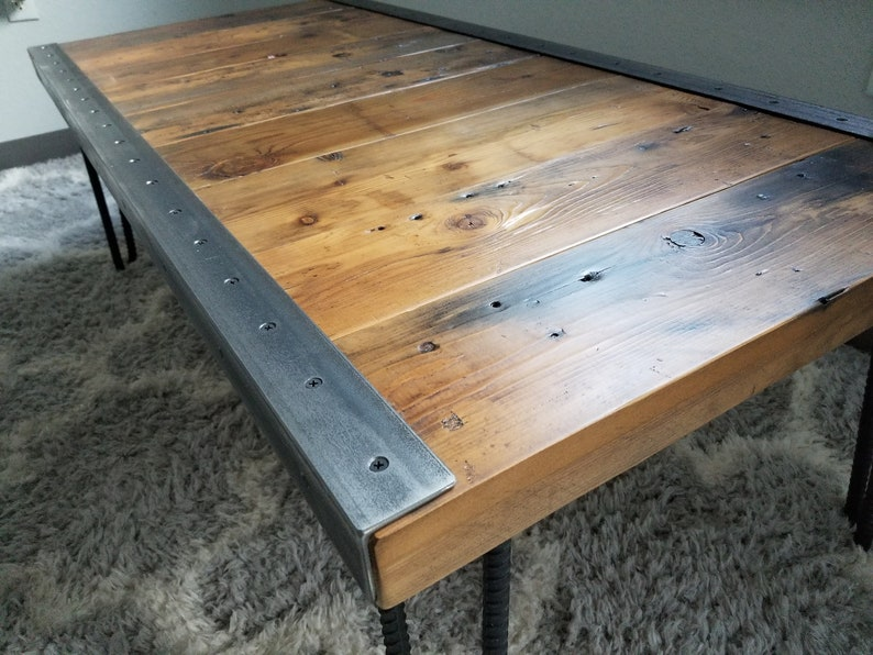 raw steel trim and hairpin legs Reclaimed Wood Authentic Custom built Industrial Coffee Table