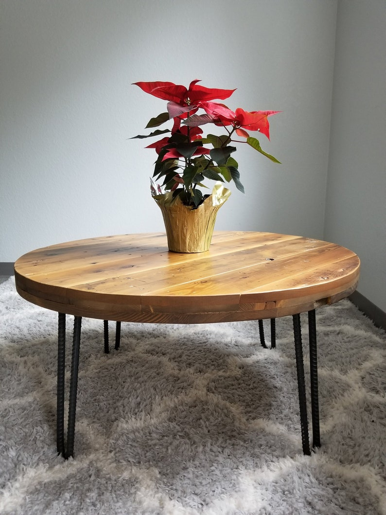Reclaimed Round Coffee Table. Heavy Duty Rebar Hairpin Legs. Choose Size  And Height.