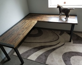 Last Chance Sale! L-Shaped Desk Reclaimed Distressed Industrial Style with 2x2 legs free shipping