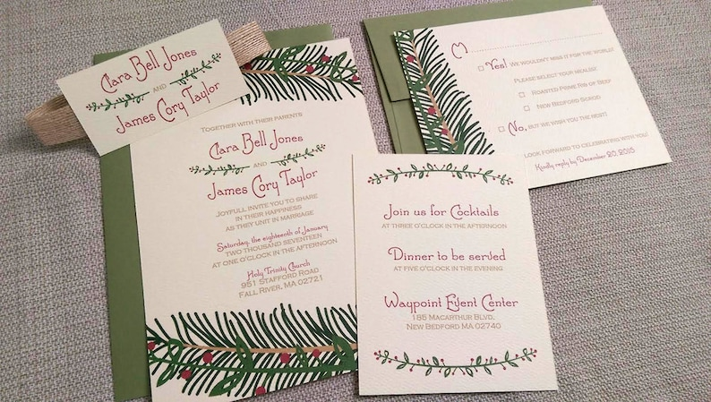 Christmas Wedding Invitation Suite- Mistletoe, Green, Red and Brown