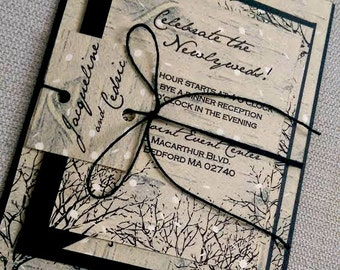 Winter Wedding Invitation Suite- Birch Trees, Snow - Black, White and Tan