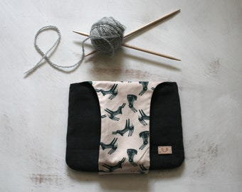 Wrist Bag Knitting Sewing Project Small Bag Project Pouch Yarn Arm Bag Rabbit Fabric Cotton Knitting Storage Sewing Storage
