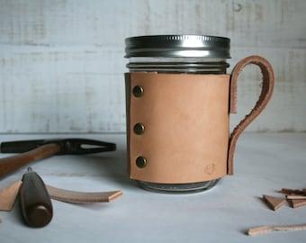 Mason Jar Travel Mug Travel Coffee Mug Handmade Leather Mason Jar Sleeve Coffee Cozy Mug Leather Coffee Sleeve Coffee Cuff Cozie