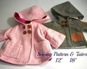 """PATTERN Coat 12"""" and 18"""" doll  , DIY doll clothes, Waldorf doll , coat for  12"""" and 18""""  dolls, Doll clothing pattern"""