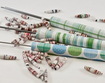 Blue Green and White Themed Slotted Paper Bead Roller Set and Quilling Tools by One of a Kind Designs