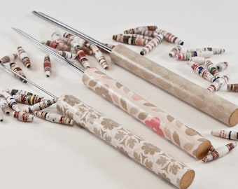 Tan Patterned Themed Slotted Paper Bead Roller Set and Quilling Tools by One of a Kind Designs