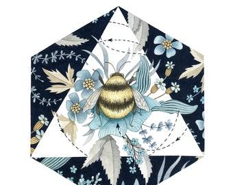 Square winter bee print