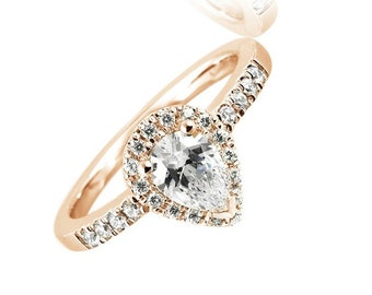 25271623008e GIA Certified Diamond Engagement Halo Ring 2 CT Pear   Round 18k Rose Gold