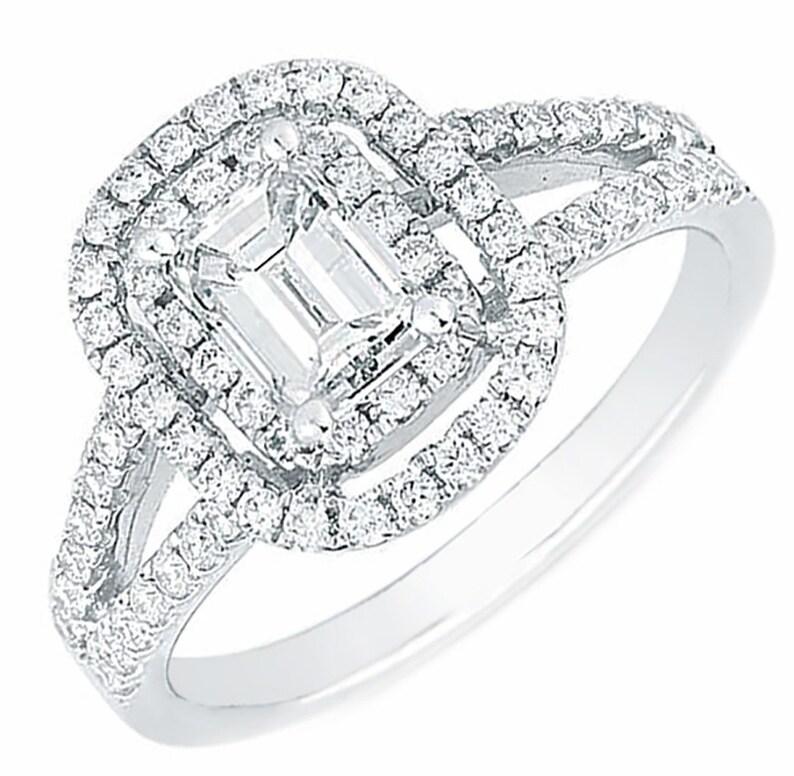 5a6959f2cc2eb GIA Certified Doubla halo & Split shank Engagement Ring 2.10 CTW. Emerald  cut Diamond 18k white gold