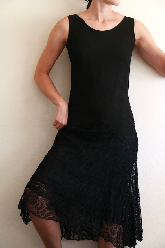 Black Crinkle Silk 20's-30's Dress