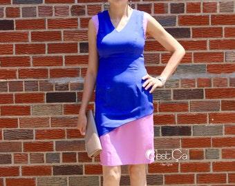 SALE Jennifer - Blue Lilac Sheath Dress, Color Block Dress, Purple Lavender Pencil Dress, Chiffon Cocktail Dress, Career Dress